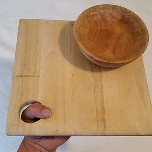 Raw wood serving board and bowl